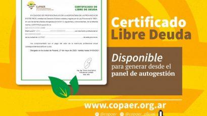 Descargá tu Certificado de Libre Deuda desde el panel de Autogestión