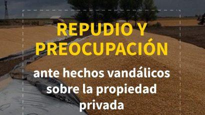 Repudio y preocupación ante hechos vandálicos sobre la propiedad privada