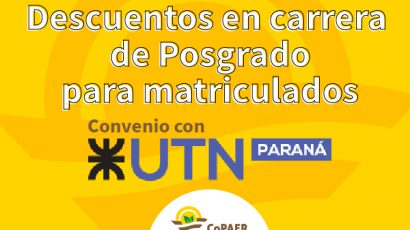 Descuentos en carrera de Posgrado UTN Paraná para matriculados