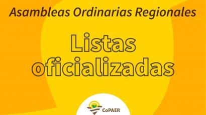 Asambleas Ordinarias Regionales: Listas oficializadas