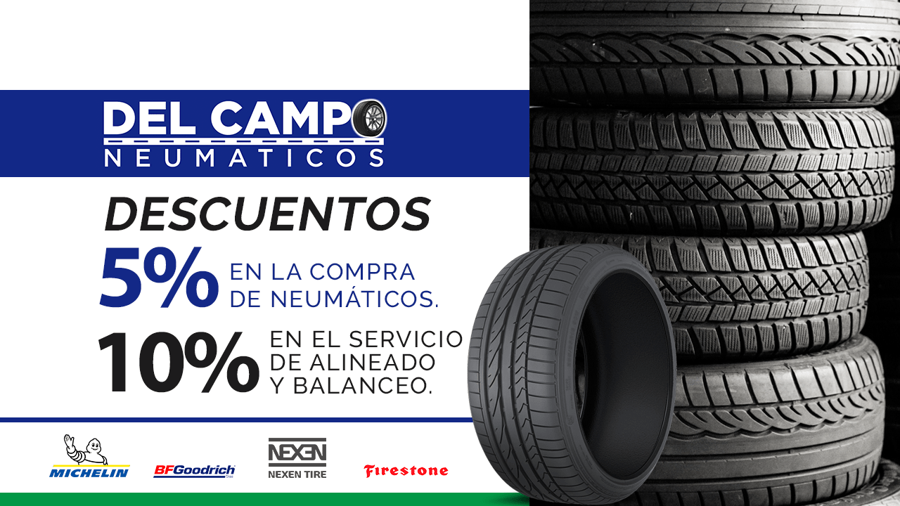 Descuentos del 5% y 10% en «Del Campo Neumáticos»